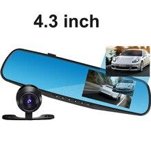 Big discount 4.3 inch LCD Car Rearview Mirror Camera Video Recorder Registratory Car DVR Dual lens Full HD Camcorder Dash Cam