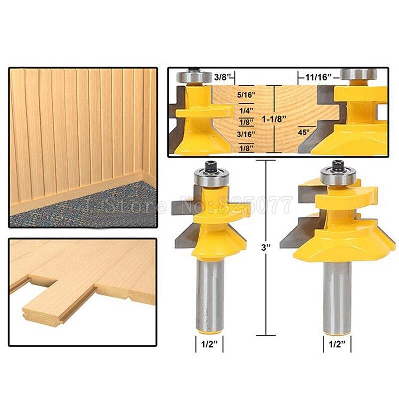 "Купить с кэшбэком 2PCS Woodworking Carbide 45degree Router Bit 1/2"" Shank x 1-1/8"" Matched Tongue & Groove V-Notch JF1474"
