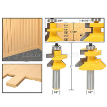 2PCS Woodworking Carbide 45degree Router Bit 1/2 Shank x 1-1/8 Matched Tongue & Groove V-Notch JF1474 set of 2 pieces 1 4 inch shank matched tongue and groove router bit set
