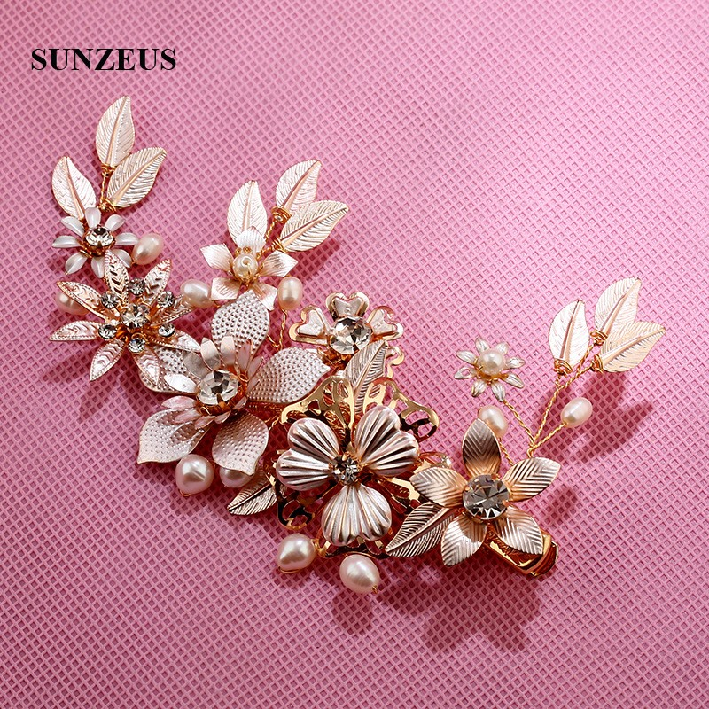 Gold Flowers And Leaves Wedding Headband Pearls Beaded Hair Accessories For Women Formal Party Hair Pins SHA63