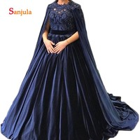 Navy Blue Velvet Formal Dresses 2019 Ball Gown Princess Evening Dresses with Jacket Wraps Beaded Elegant Evening Gowns D431