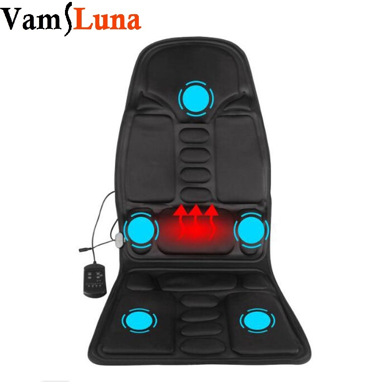 Heated Back Massage Seat For Car Home Office Heat Vibrate Cushion Back Neck Massage Chair For