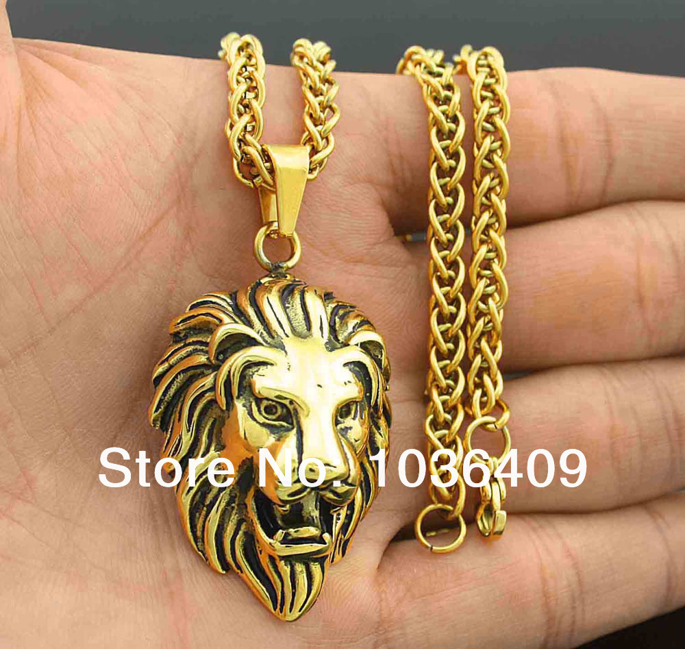 Bling Gold Lion Head pendant Charm necklace Wheat Chain Mens Biker