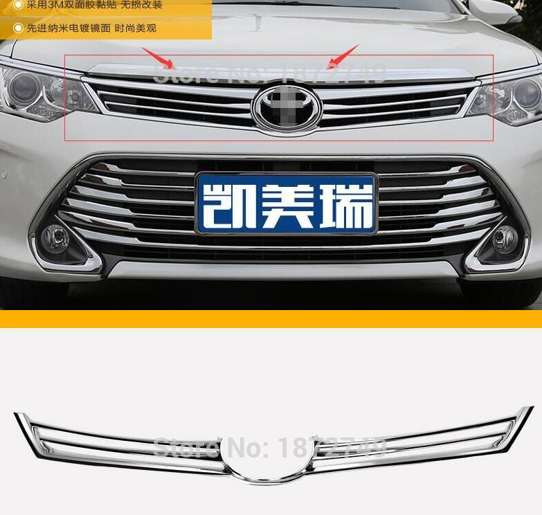ФОТО for Toyota Camry 2015 High Quality car styling cover detector trims ABS chrome Front up Grid Grill Grille Around moulding 1pcs