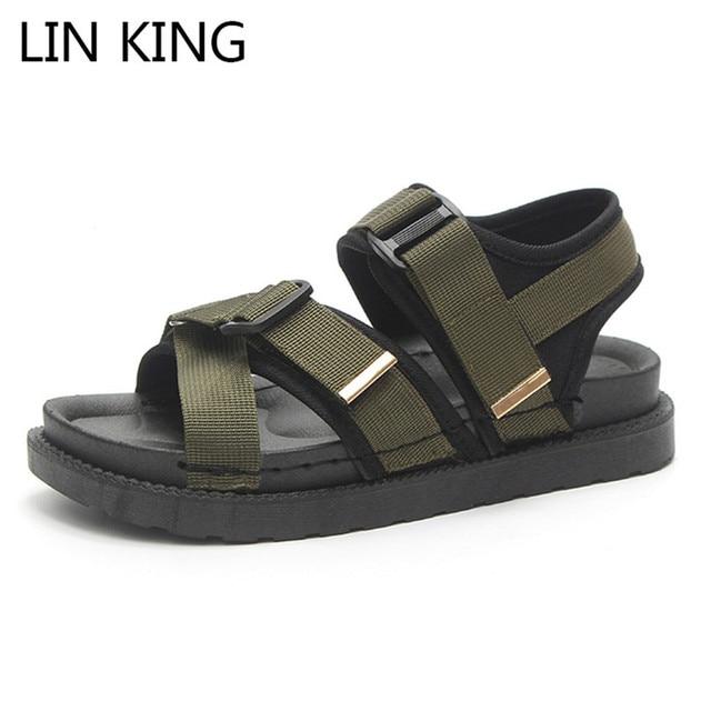 73defba18076 LIN KING Vintage Women Flats Sandals Thick Sole Platform Sandals Fashion  Buckle Anti Skid Summer Beach Shoes Sandalias Femeninas-in Women s Sandals  ...