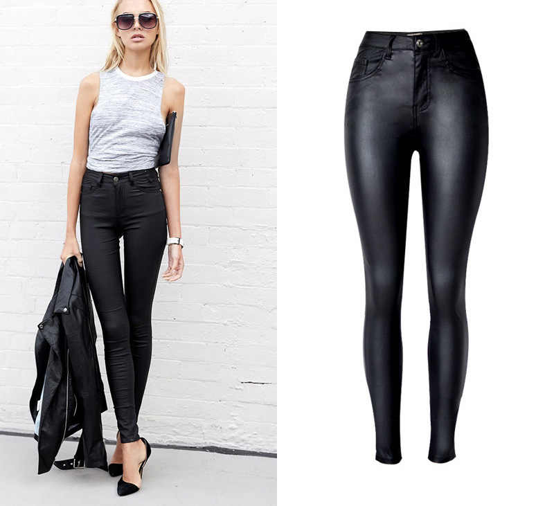 ce2787a8eec9 NiceMix 2019 Skinny Jeans mujer negro PU cuero lápiz Pantalones Casual  cintura alta Slim estiramiento Pantalones talla grande Mujer