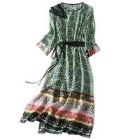 Indie Folk Real Silk Woman Print Dress Lady Gown o Neck Three Quarter Sleeve Ankle Length A Line Female Summer Women Dress XL