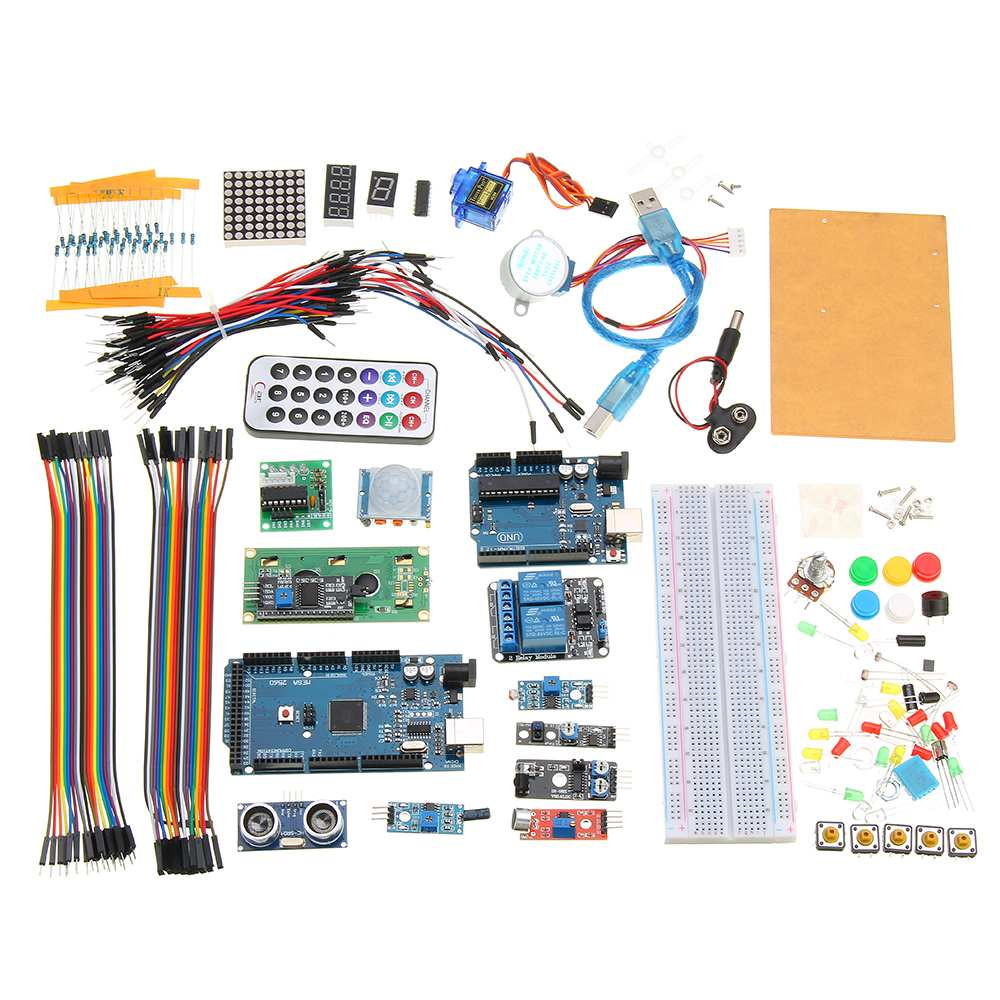 Super Starter Kit For Arduino UNO R3 & Mega2560 Board With Sensor Moudle 1602 LCD led Servo Motor Relay Learning Basic SuiteSuper Starter Kit For Arduino UNO R3 & Mega2560 Board With Sensor Moudle 1602 LCD led Servo Motor Relay Learning Basic Suite