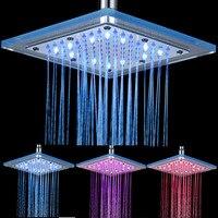 8 Inch LED Temperature Sensitive 3 Colors Changing Rain Shower Head Bathroom Square Top Spray