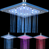 8 Inch LED Temperature Sensitive 3 Colors Changing Rain Shower Head Bathroom Square Top Spray