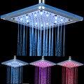 8 pulgadas LED de Temperatura Sensible Cambio de 3 Colores Ducha de Lluvia Cabeza Baño Cuadrado Rociador Superior