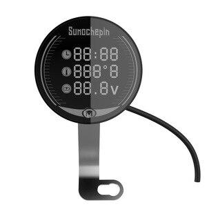 Image 5 - العالمي للدراجات النارية متعددة الوظائف LED الرقمية الفولتميتر ساعة متر ميزان الحرارة عرض الصك