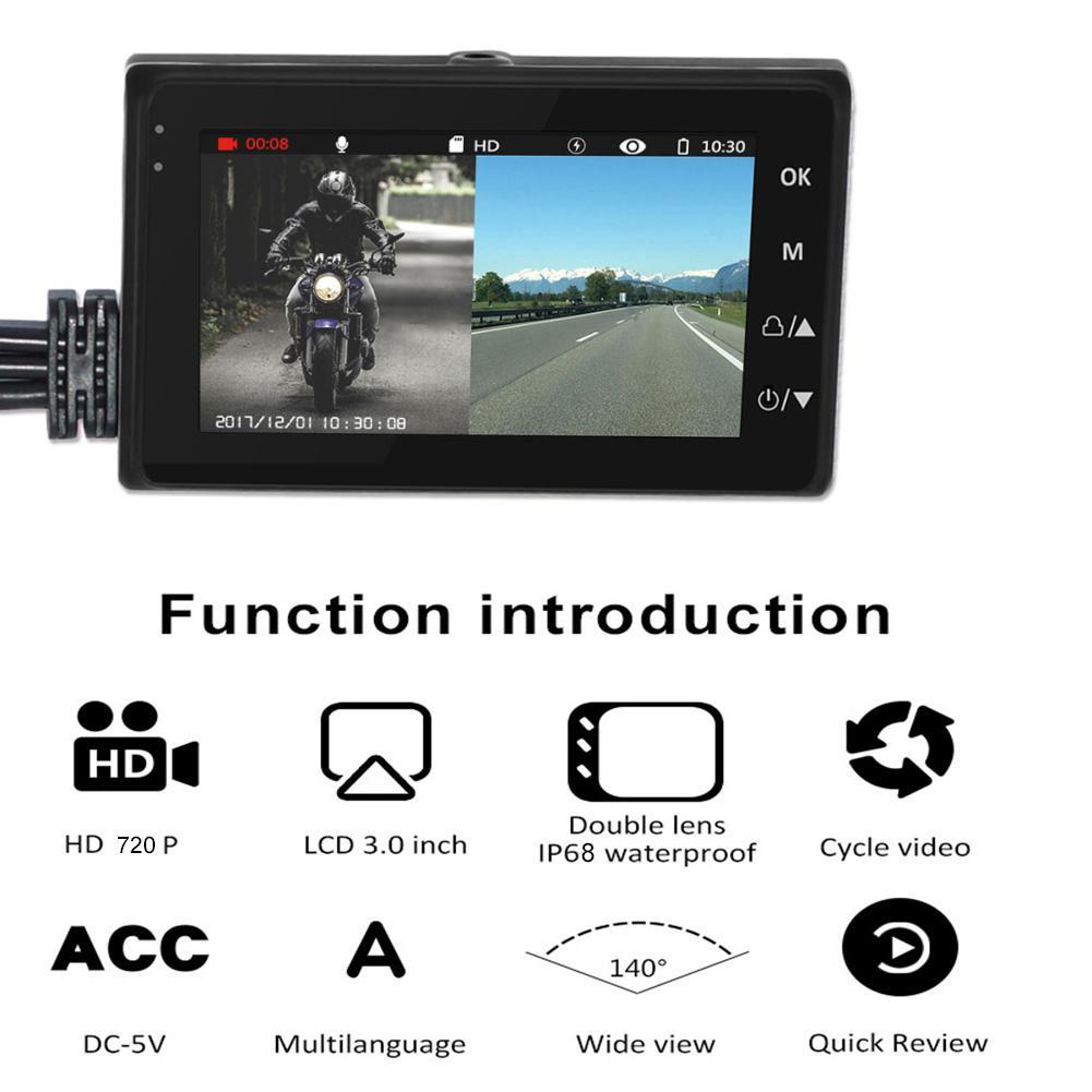 DC12-24V universel 720 P étanche moto caméra DVR 3.0 pouces HD affichage moteur Dash Cam avec objectif spécial double piste large Fi