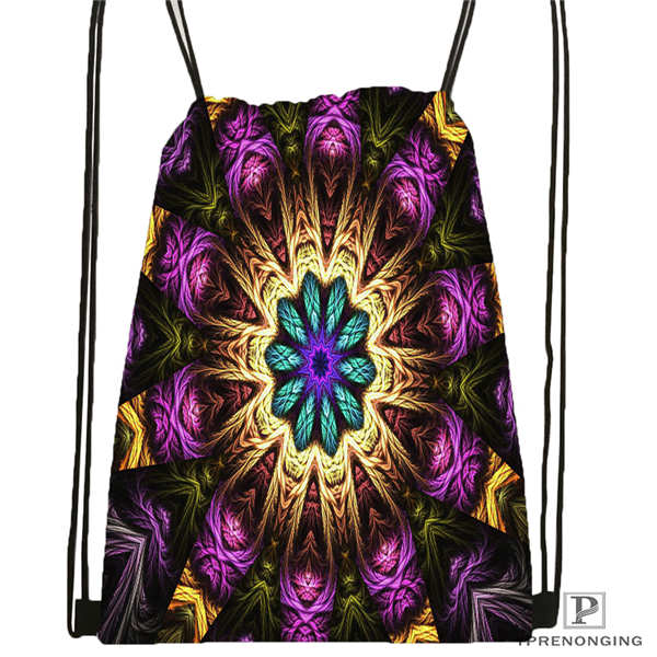 Custom Mandala-Buddhist-@4 Drawstring Backpack Bag For Man Woman Cute Daypack Kids Satchel (Black Back) 31x40cm#20180611-03-144