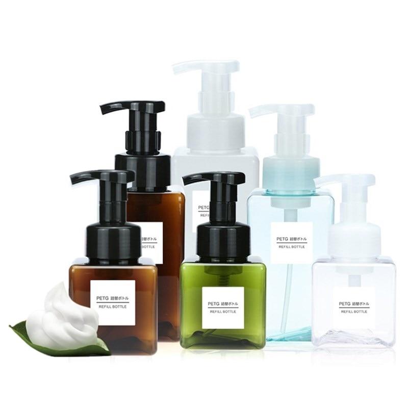 250/450ml clair moussant bouteille moussant savon distributeur pompe savon Mousses liquide distributeur shampooing Lotion douche Gel mousse bouteilles