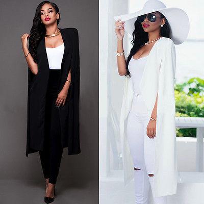New Ladies Women Long Sleeve Lapel Cape Poncho Office Jacket Cloak Blazer Suit Coat Blazers