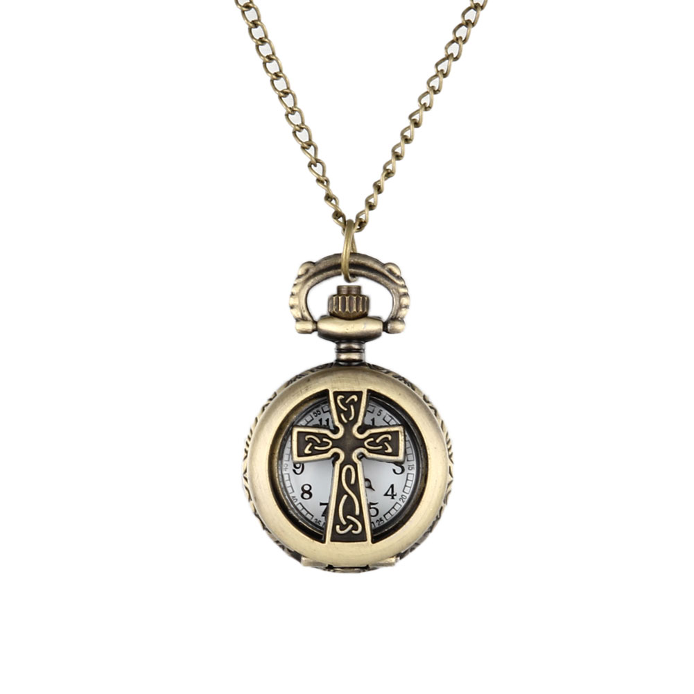 New Vintage Bronze Crucifix Cross Hollow Quartz Pocket Watch Necklace Pendant Women Men's Gifts LXH new soviet sickle hammer style quartz pocket watch men women vintage bronze pendant necklace pendant clock with chain