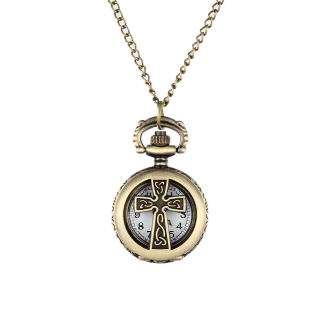 New Vintage Bronze Crucifix Cross Hollow Quartz Pocket Watch Necklace Pendant Wo