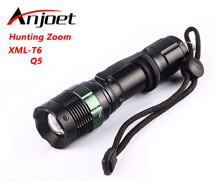 Anjoet LED Flashlight XM-L T6 Q5 2000LM Aluminum Waterproof Zoomable Torch Light 5modes for 18650 Rechargeable Battery or AAA meco xm l t6 2000lm 5modes lotus shape led flashlight suit