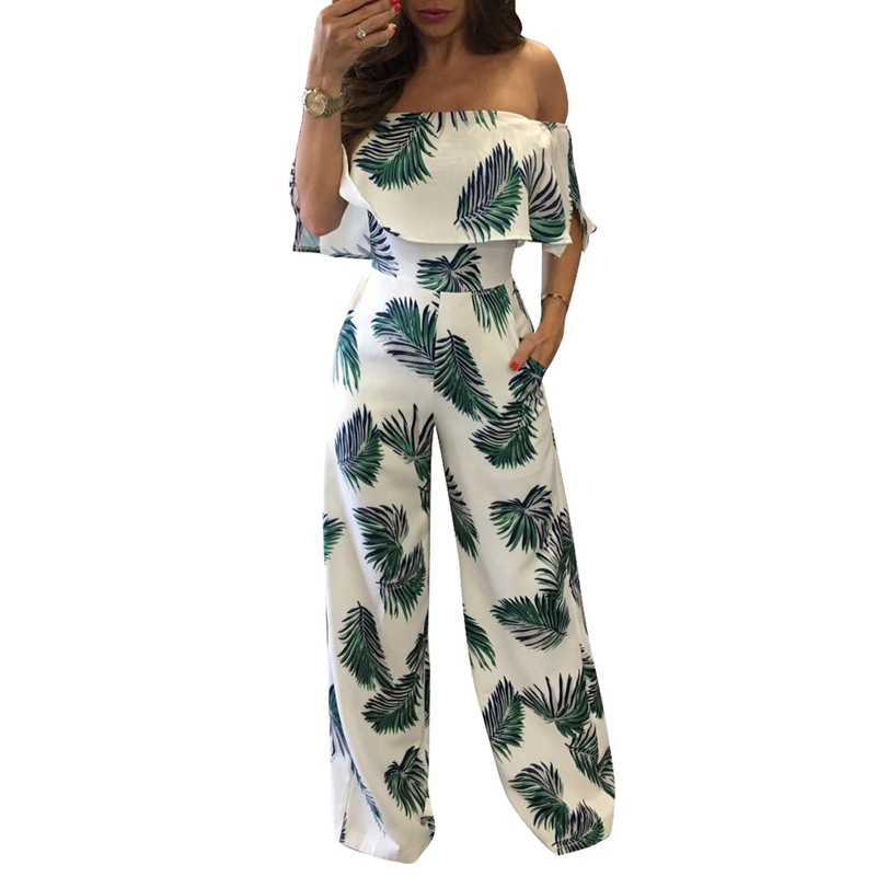 Jumpsuits Ambitious 2019 Autumn Loose Print Women Jumpsuit Wrapped Chest One Word Collar Top Wide Leg Floral Pant Pocket Jumpsuit Two Piece Bodysuit Non-Ironing