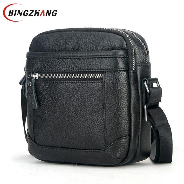 2017 de couro Genuíno pequenos sacos do mensageiro para homens casual masculino bolsas de couro verdadeiro saco de ombro único crossbody homem L4-2684