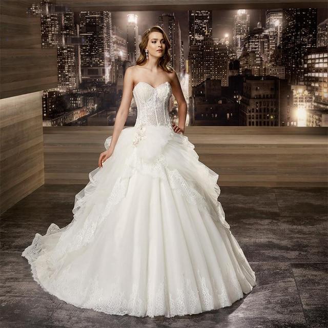 50c9b40bd Vestido دي noiva renda الديكور صد الأبيض الكرة ثوب فساتين زفاف 2016 زين  الكشكشة موضة فستان