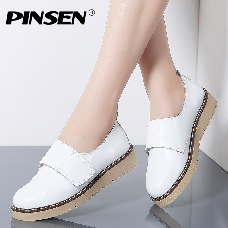 PINSEN 2018 Women Shoes Genuine Leather Casual White Flat Ballerina Shoes Woman Loafers Oxford Shoes for Women mocassin Slipony e lov women casual walking shoes graffiti aries horoscope canvas shoe low top flat oxford shoes for couples lovers