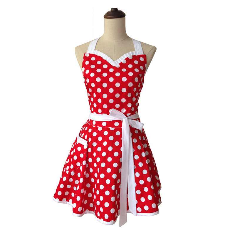 Bodecin Sweetheart Polka Dot Retro Kitchen Apron Woman Cotton Cooking Salon Avental de Cozinha Divertido Pinafore