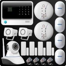 2016 Última Gran Pantalla 2.4G WiFi GPRS GSM SMS Wireless Sistema de Alarma de la Seguridad casera Cámara IP Sensor de Movimiento Inmune A Mascotas humo