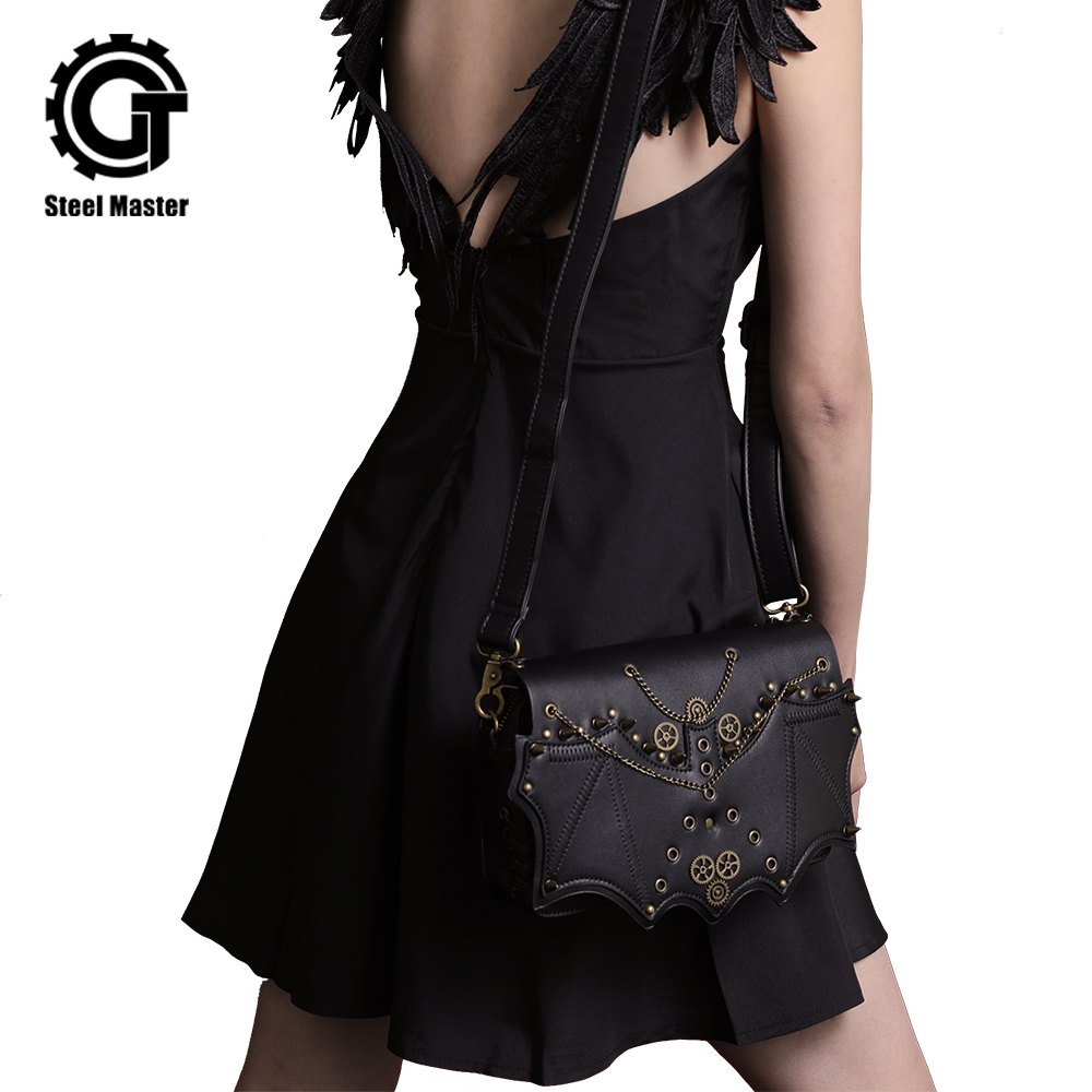 Punk gothique hommes femmes Messenger sac à bandoulière 2018 Vintage mode Steampunk Rivets sac bandoulière cuir synthétique polyuréthane noir sacs enveloppe