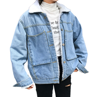 2017 Autumn Winter Boyfriend Style Denim Jacket Women High Quality Loose Thick Lambs Wool Jacket Big