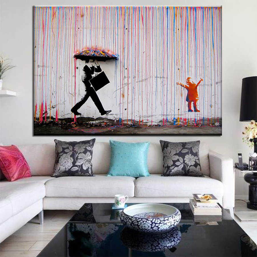 Banksy Art Graffiti Colorful Rain Prints on Canvas Canvas Painting Wall Art Posters and Prints For Home Decoration No Frame