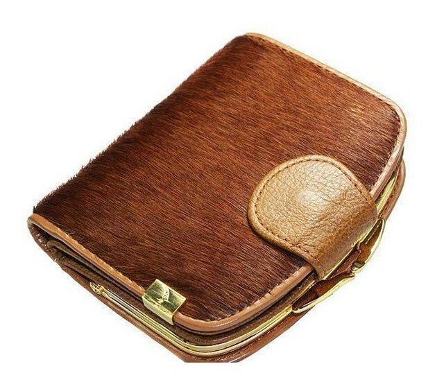 2013 Новая мода Высокого качества конского волоса Натуральная кожа женщин короткий бумажник леди сумки кошелек карта пакет бесплатная доставка WBG0808