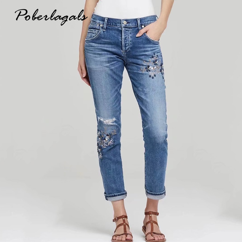 Flowers embroidery holes Casual washed woman bottoms 2017 Summer high waist jeans female pants capris Women denim pencil pants flower embroidery jeans female blue casual pants capris 2017 spring summer pockets straight jeans women bottom a46