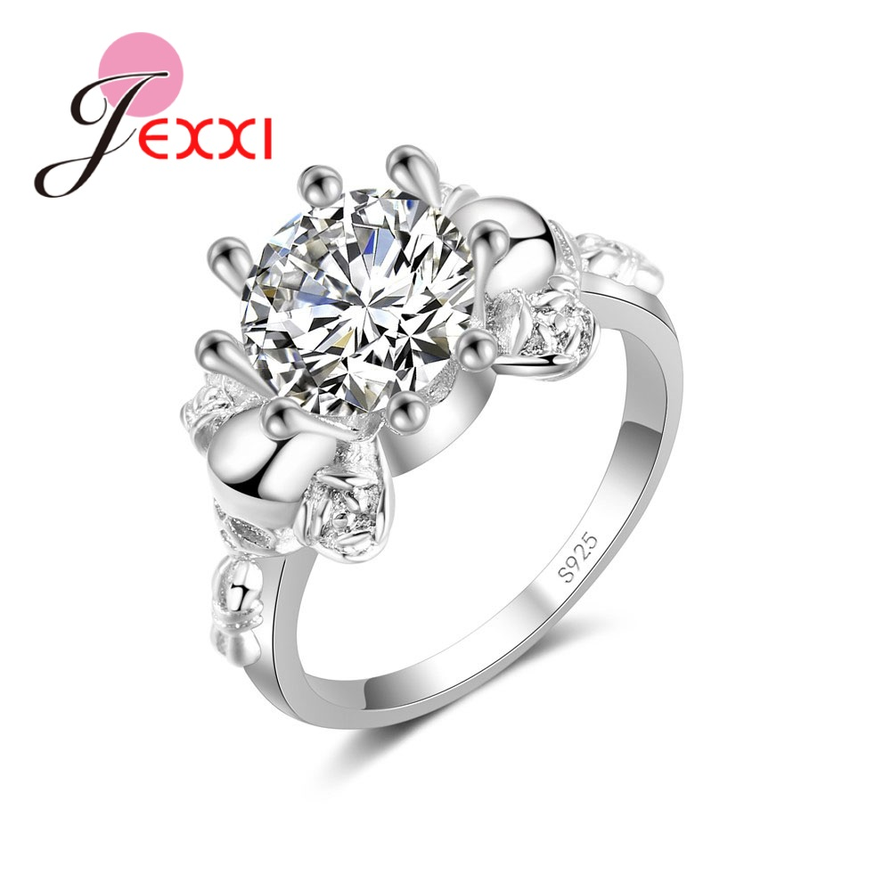 European  American Popular Flower-shaped 925 Sterling Silver Pliers Small Crystal Ring Jewelry  Wedding