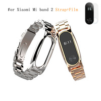 Mijobs Stainless Steel Strap For Xiaomi Mi Band 2 Smart Bracelet Replacement Metal Strap Band For
