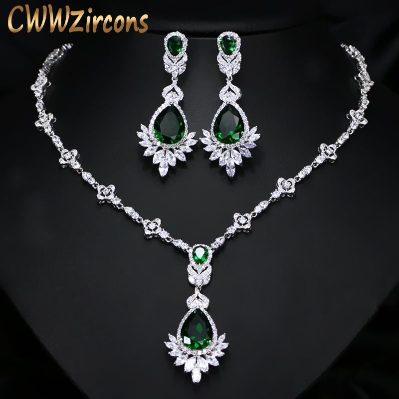 CWWZircons Exquisite Women Green Big Costume Jewellery Sets Cubic Zirconia Wedding Party Necklace Earring Jewelry T094 tissot t094 210 11 121 00