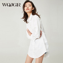 WQJGR Spring And Summer Bf Wind White Shirt Woman Long Sleeve 100% Pure Cotton Leisure Sexy Blusa Feminina