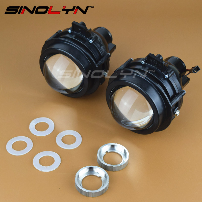 SINOLYN Bifocal Bi-xenon Projector Lens Fog Lamp Driving Lights Super Bright with HID Bulb D2H Waterproof for Chevrolet Cruze for chevrolet cruze tuning bi xenon projector lens head lights with led turn light 2015 year new arrival