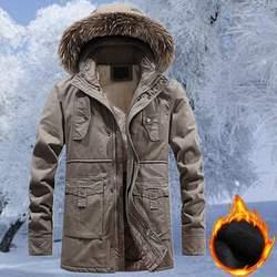 Новая зимняя мужская теплая парка и куртка из плотного флиса, хлопковое пальто, длинные мужские куртки с меховым воротником, пальто с