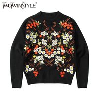 TWOTWINSTYLE Embroidery Floral Women S Winter Sweaters Pullover Long Sleeve Black Knitting Sweater Tops Knitted Clothes