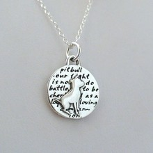 1pcs Inspirational Pit Bull Dog Charm Necklace15mm