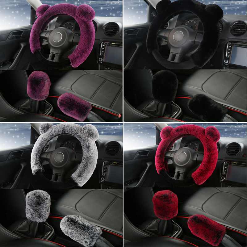 3Pcs Plush Fur Fluffy Car Steering Wheel and Handbrake and Gear Knob Cover