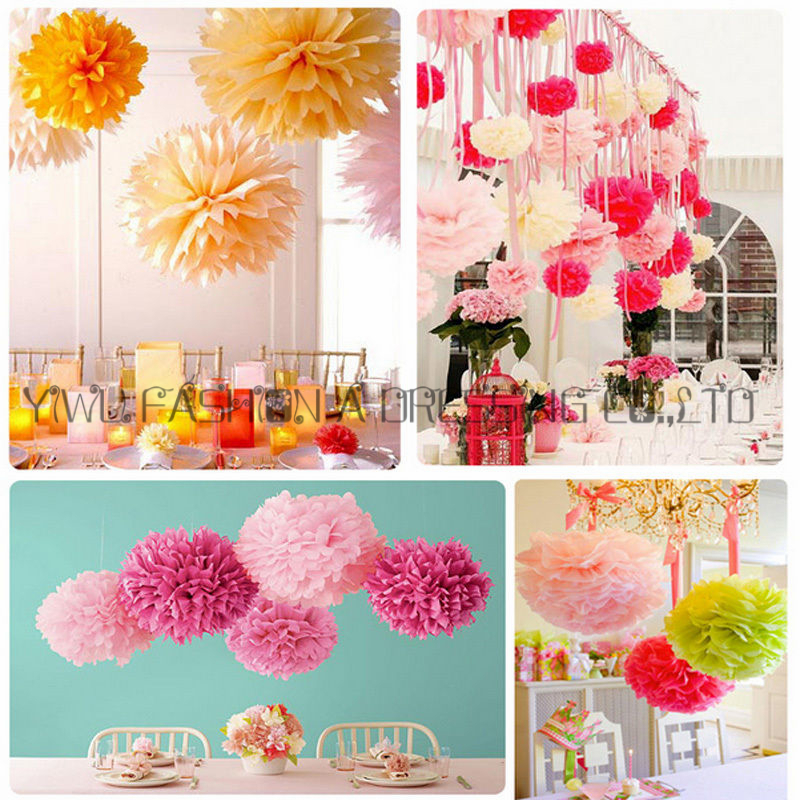 Colorful Paper Pompones Garland Holiday Decoration 615cm 19pcs