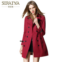 SIPAIYA 2017 Autumn New Arrival Ladies Windbreak High Quality Double Breasted Turn Down Collar Brand Women