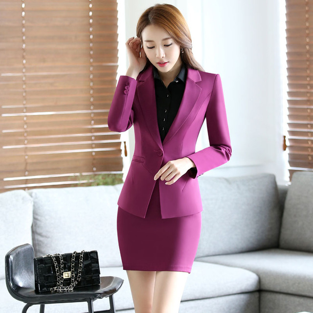 Novelty Purple Spring Autumn Slim Fashion Professional Formal OL Styles Suits With Jackets And Skirt Office Ladies Blazers Set