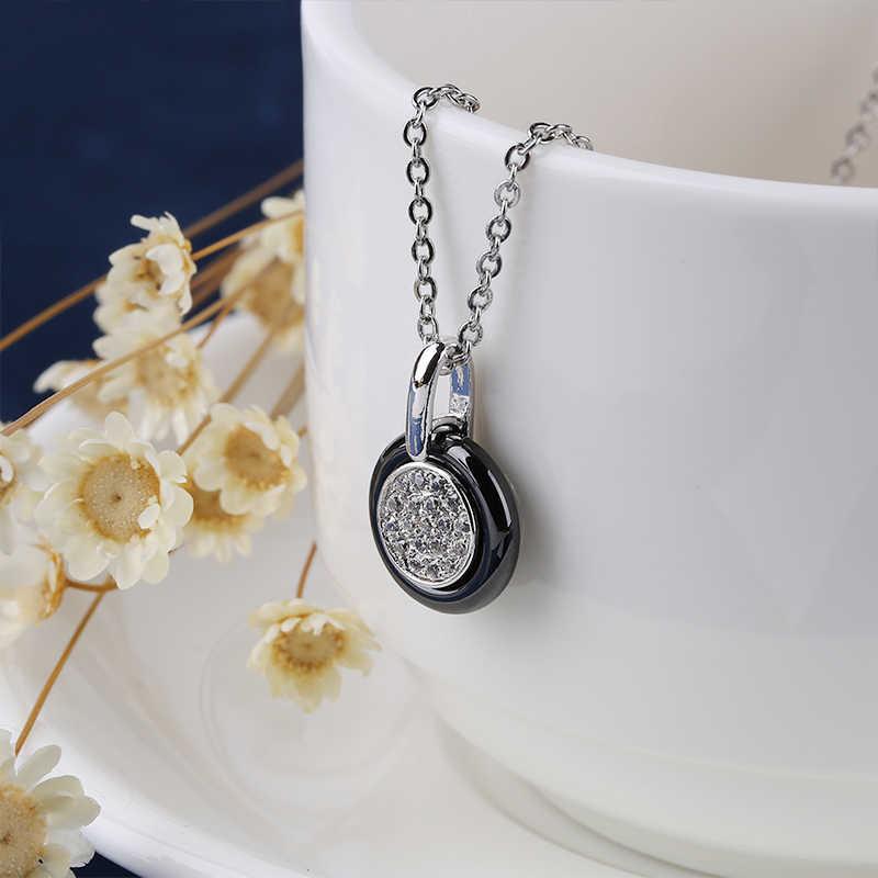 Warna Perak Mode Keramik Perhiasan Set Kubik Zircon Laporan Panjang Liontin Kalung & Anting-Anting Anting-Anting Pernikahan Perhiasan untuk Wanita