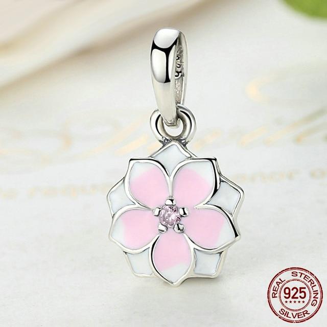 e7bc1d179 Magnolia Bloom Dangle Enamel & Pink CZ 100% 925 Sterling Silver Charm Beads  Fit Pandora European Charms Bracelet & Necklace
