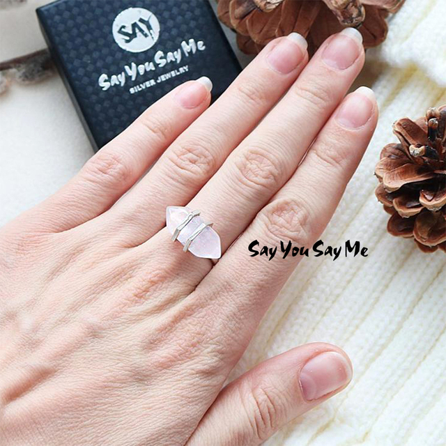 925 Sterling Silver Big Natural Stone Rings Say You Say Me Wedding&Engagement Lu