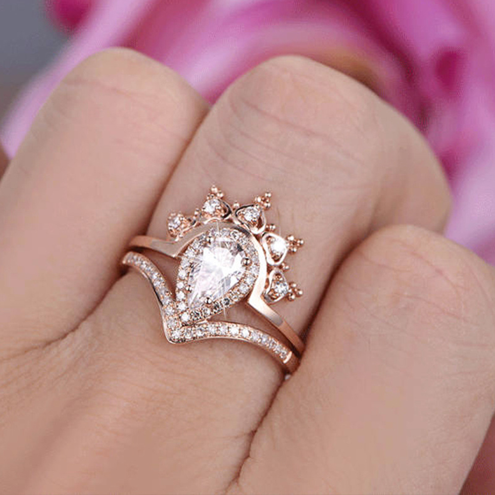 BRAVEKISS vintage cz stone cathedral rings 3 stone halo rings for ...